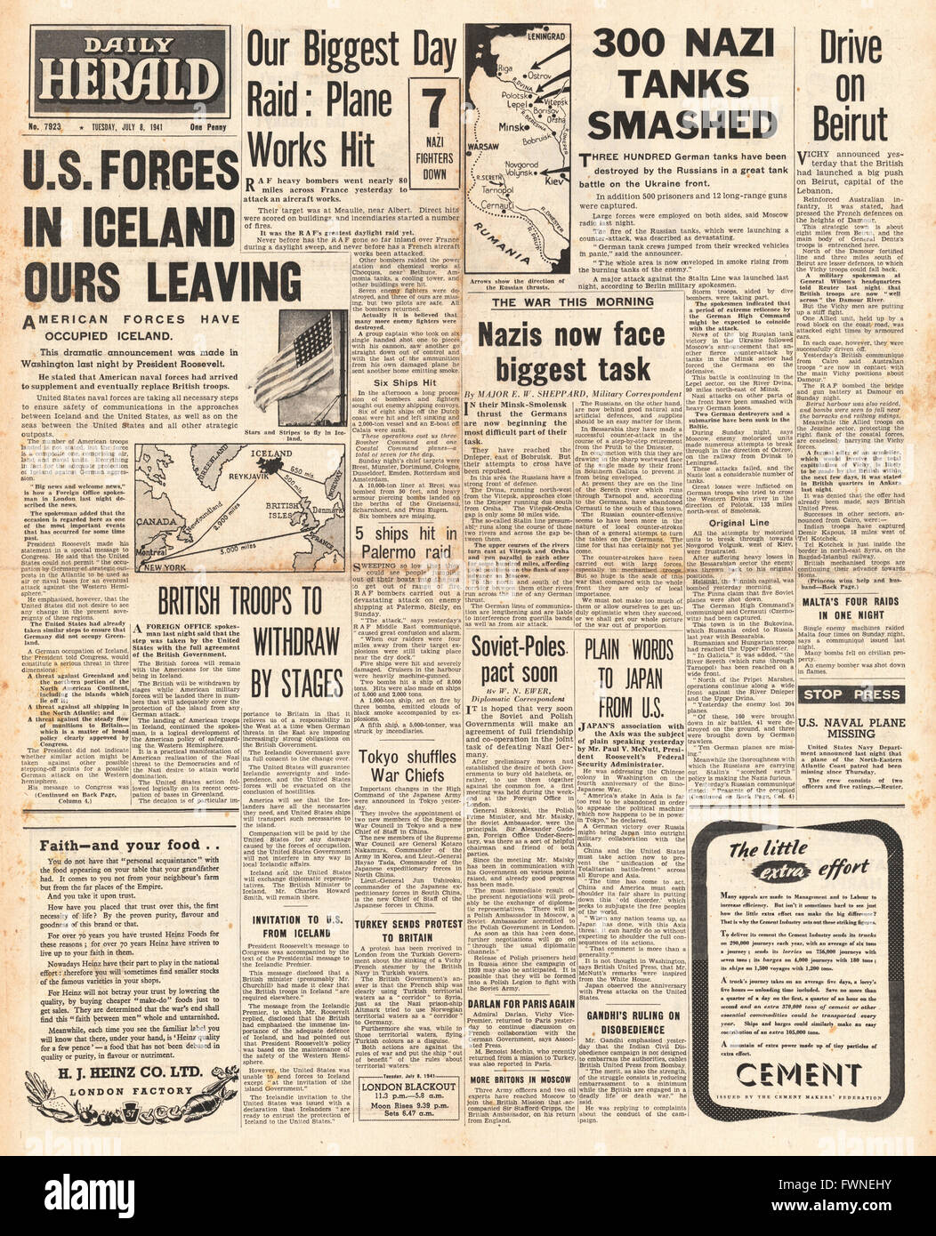 1941 front page Daily Herald United States Occupies Iceland, Battle for Russia and RAF Raids over France Stock Photo