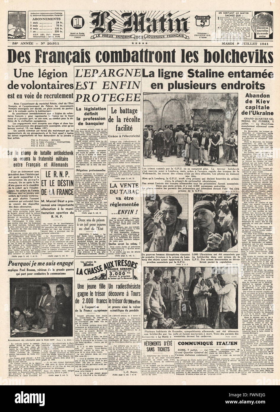1941 front page Le Matin French Volunteers recruited into German Army - Stock Image