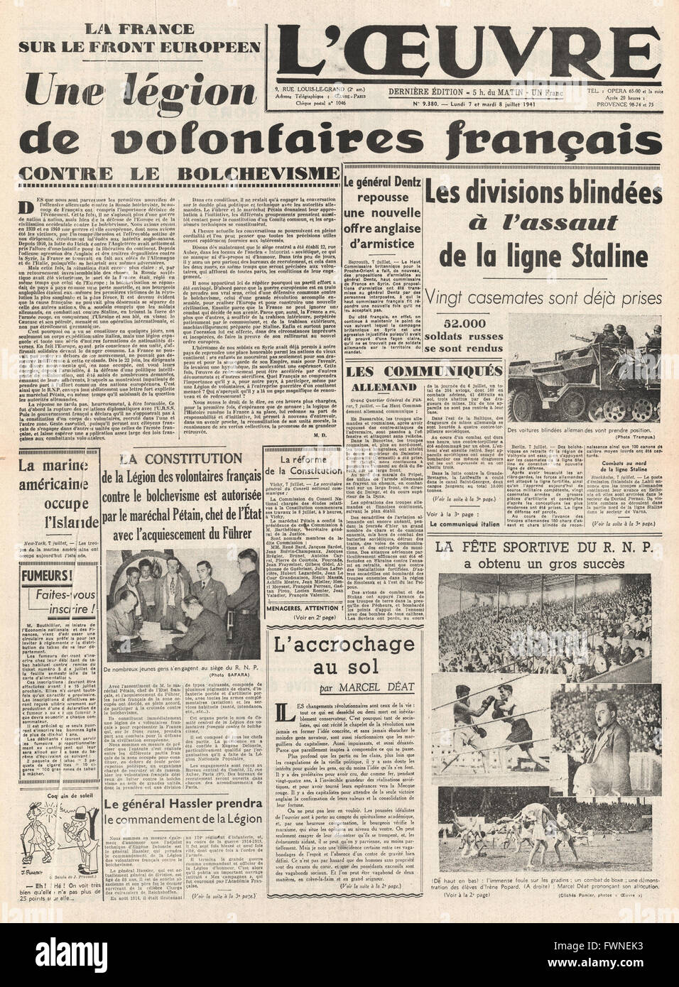 1941 front page L' Oeuvre French Volunteers recruited into German Army - Stock Image