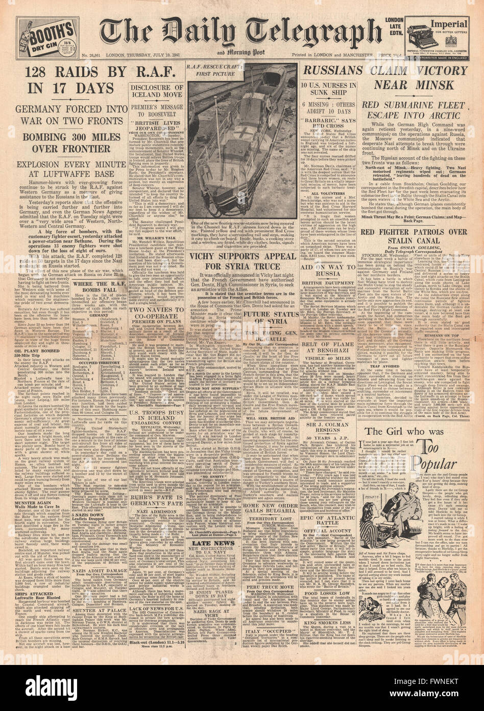 1941 front page Daily Telegraph RAF Bombing Raids over Germany and Battle for Minsk Stock Photo