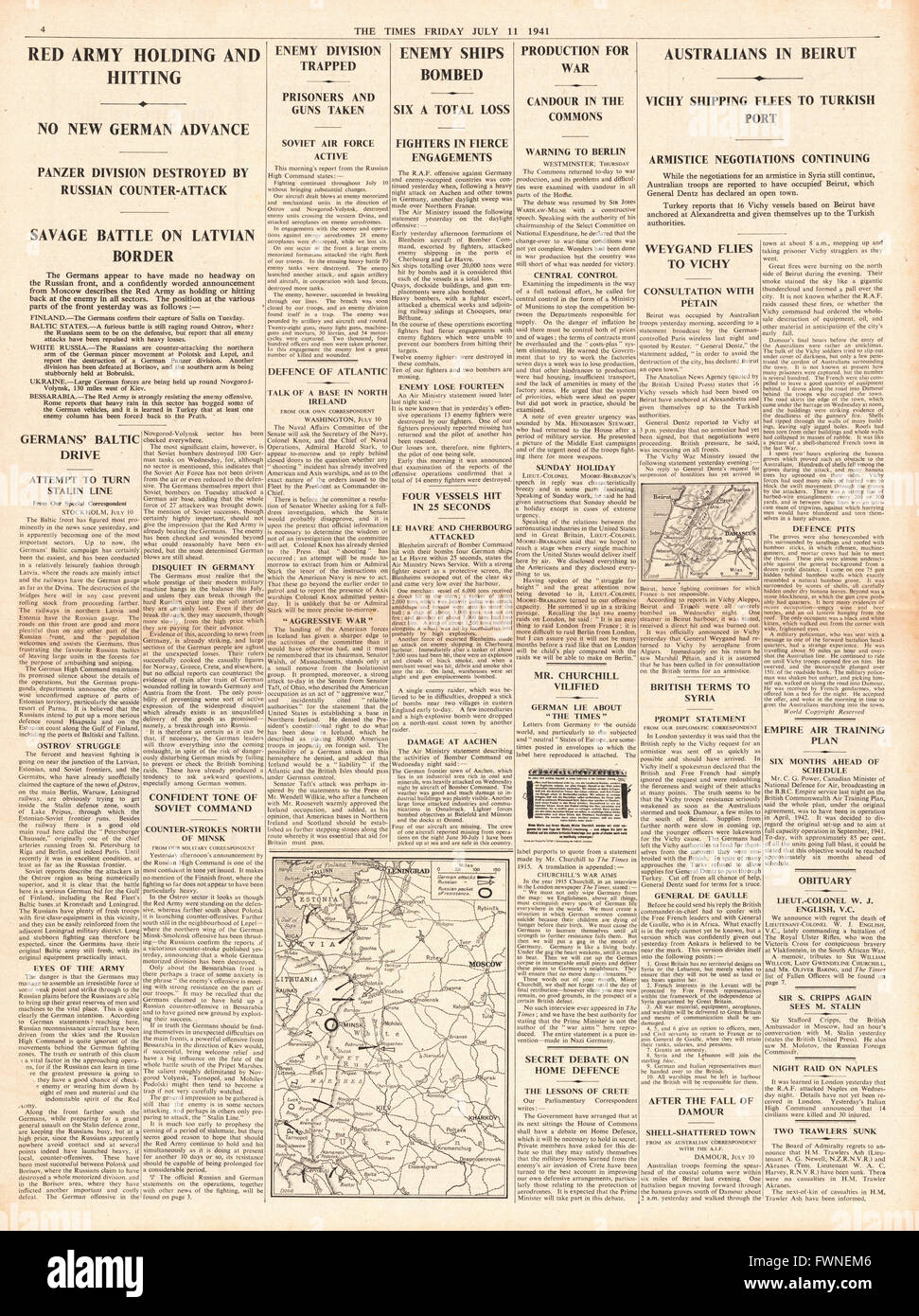 1941 page 4 The Times German Army Advance Held, Vichy French Ships Flee Beirut and RAF Sink Enemy Ships at Cherbourg - Stock Image