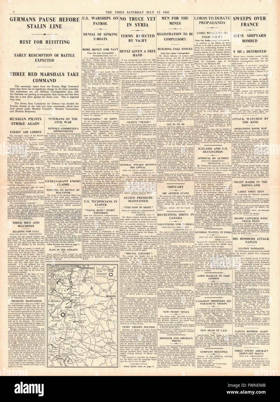 1941 page 4 The Times Stalin appoints three new Commanders, Semyon Budyonny, Semyon Timoshenko and Kliment Voroshilov, - Stock Image