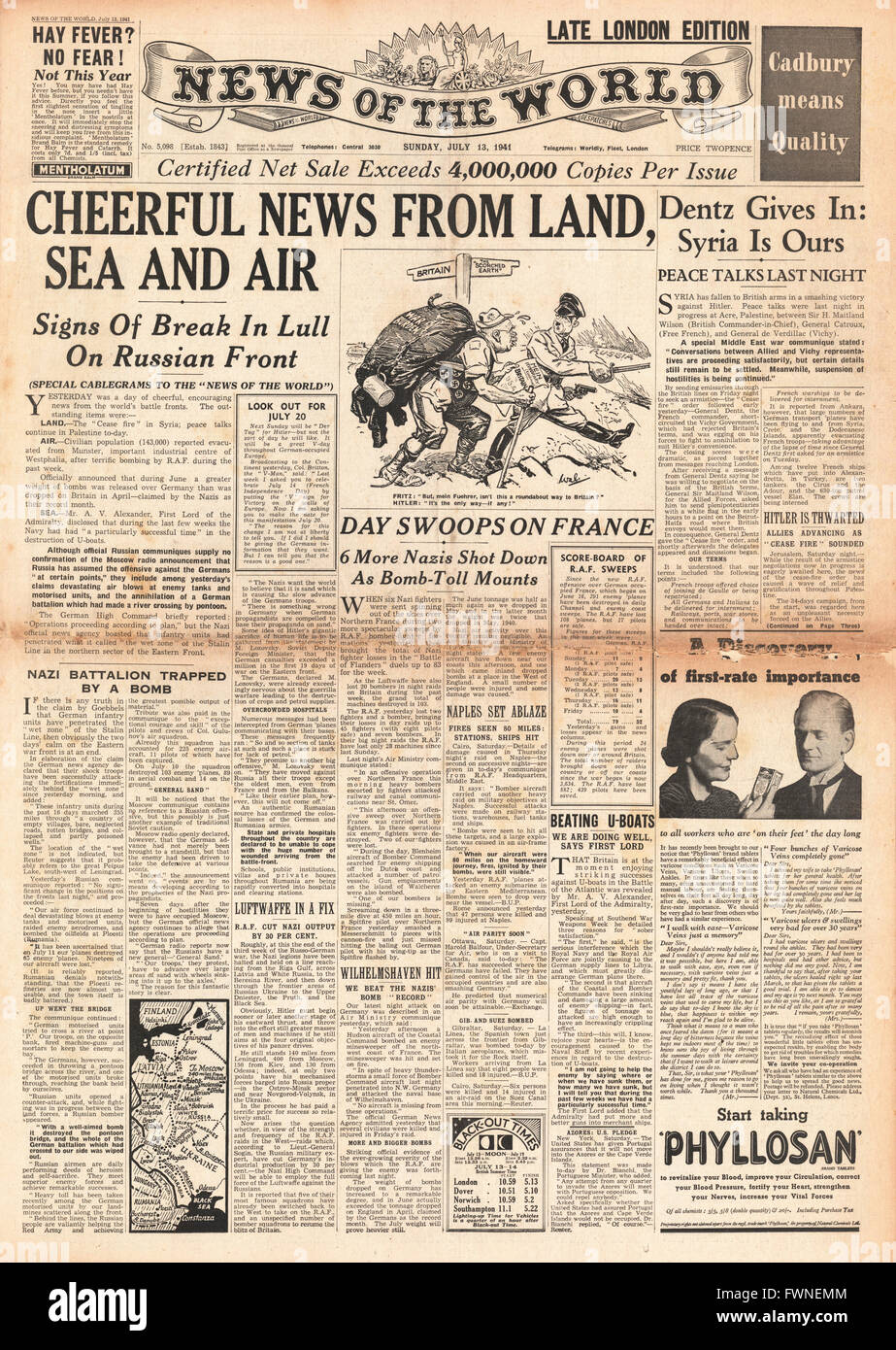 1941 front page  News of the World Cheerful News for Allies - Stock Image