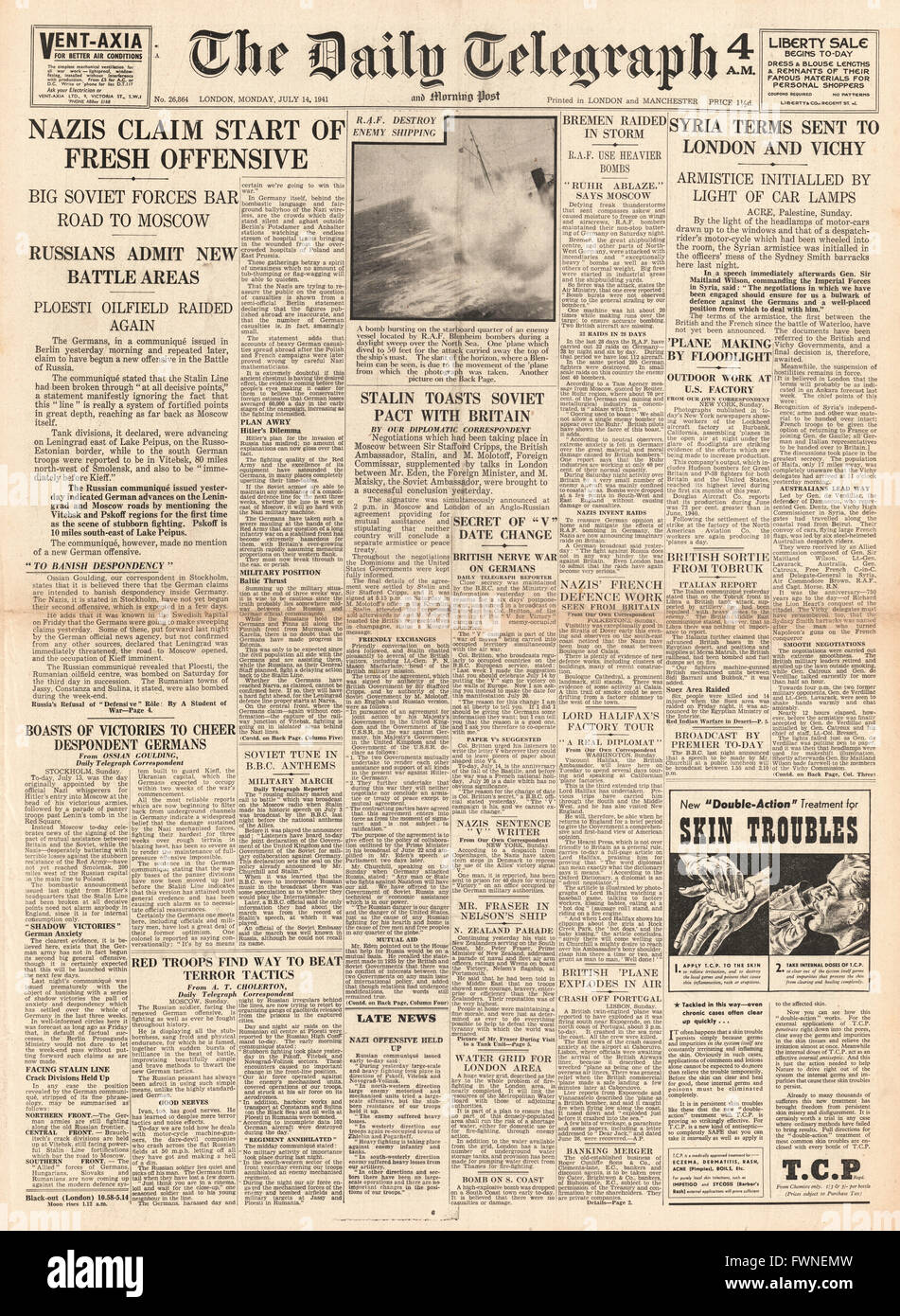 1941 front page  Daily Telegraph New German offensive in Russia, Soviet Pact with Britain and Armistice Terms in - Stock Image