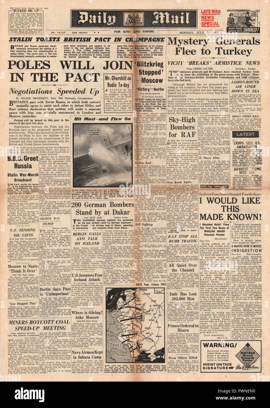 1941 front page Daily Mail Poland to join Soviet / Britain Pact - Stock Image