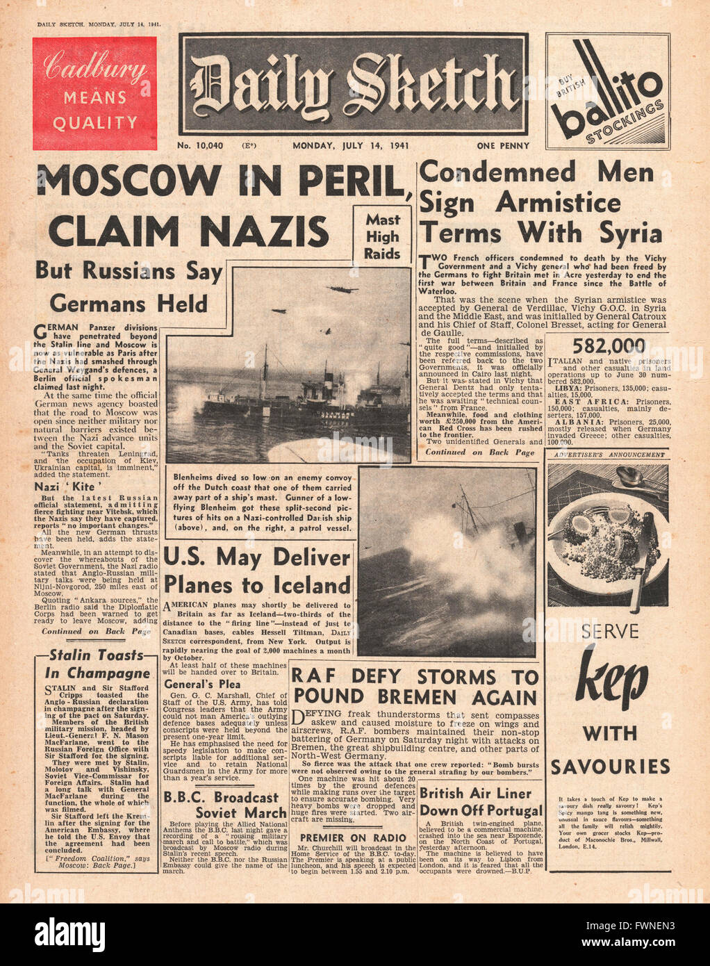 1941 front page Daily Sketch Germans claim Moscow in Peril - Stock Image