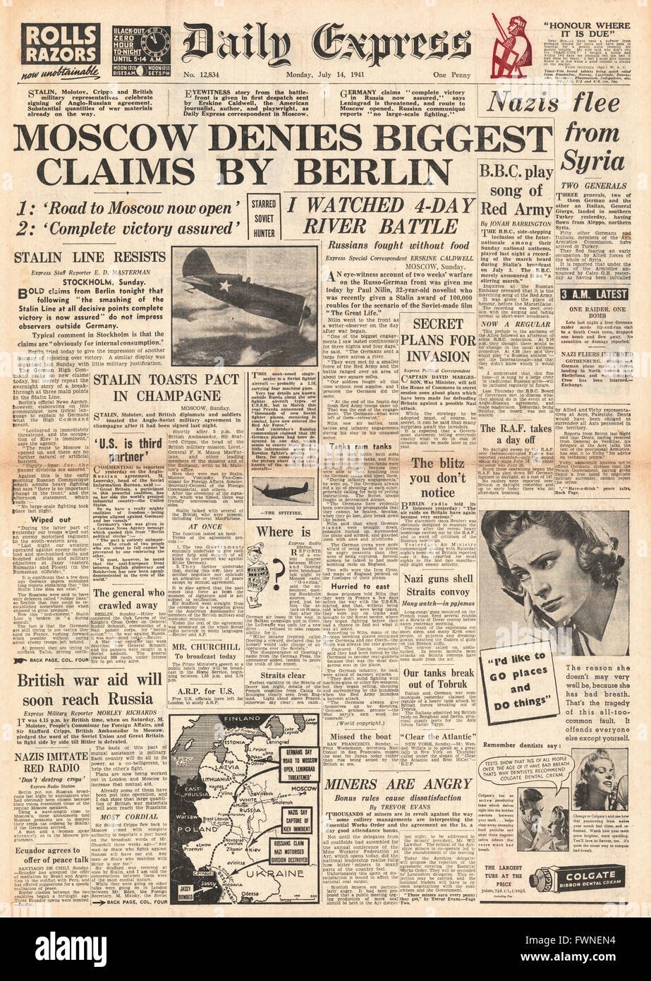 1941 front page Daily Express Germans claim Moscow in Peril - Stock Image