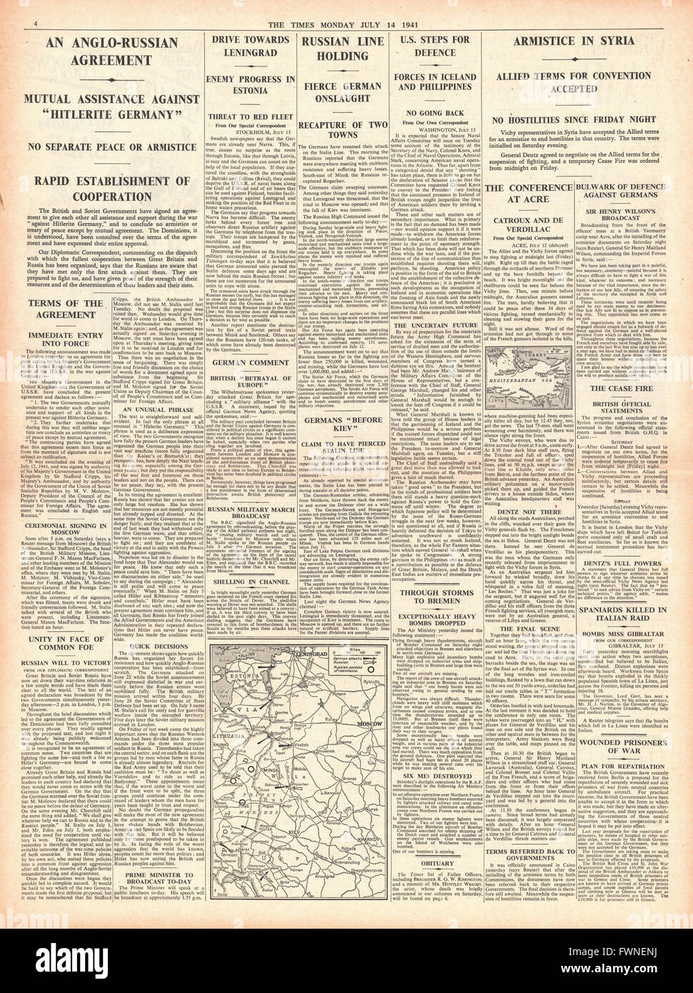 1941 page 4 The Times Poland to join Soviet / Britain Pact  and Armistice in Syria - Stock Image