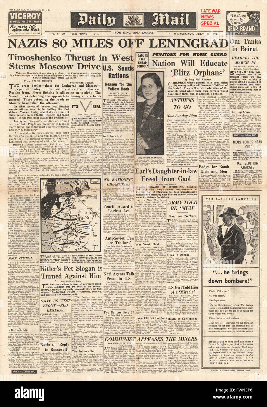 1941 front page Daily Mail German Forces 80 Miles From Leningrad Stock Photo
