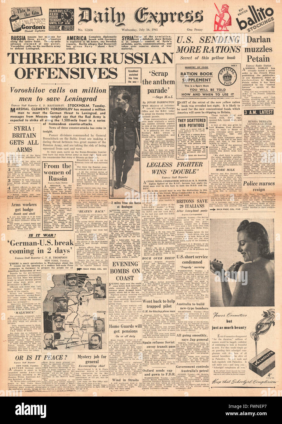 1941 front page Daily Express Russian offensive to save Leningrad Stock Photo