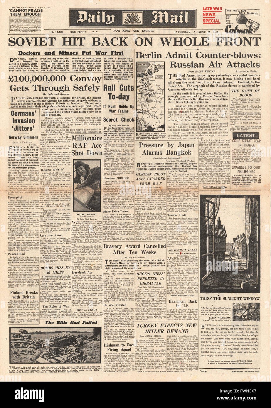 1941 front page Daily Mail Russian Counter Attack along Eastern Front Stock Photo