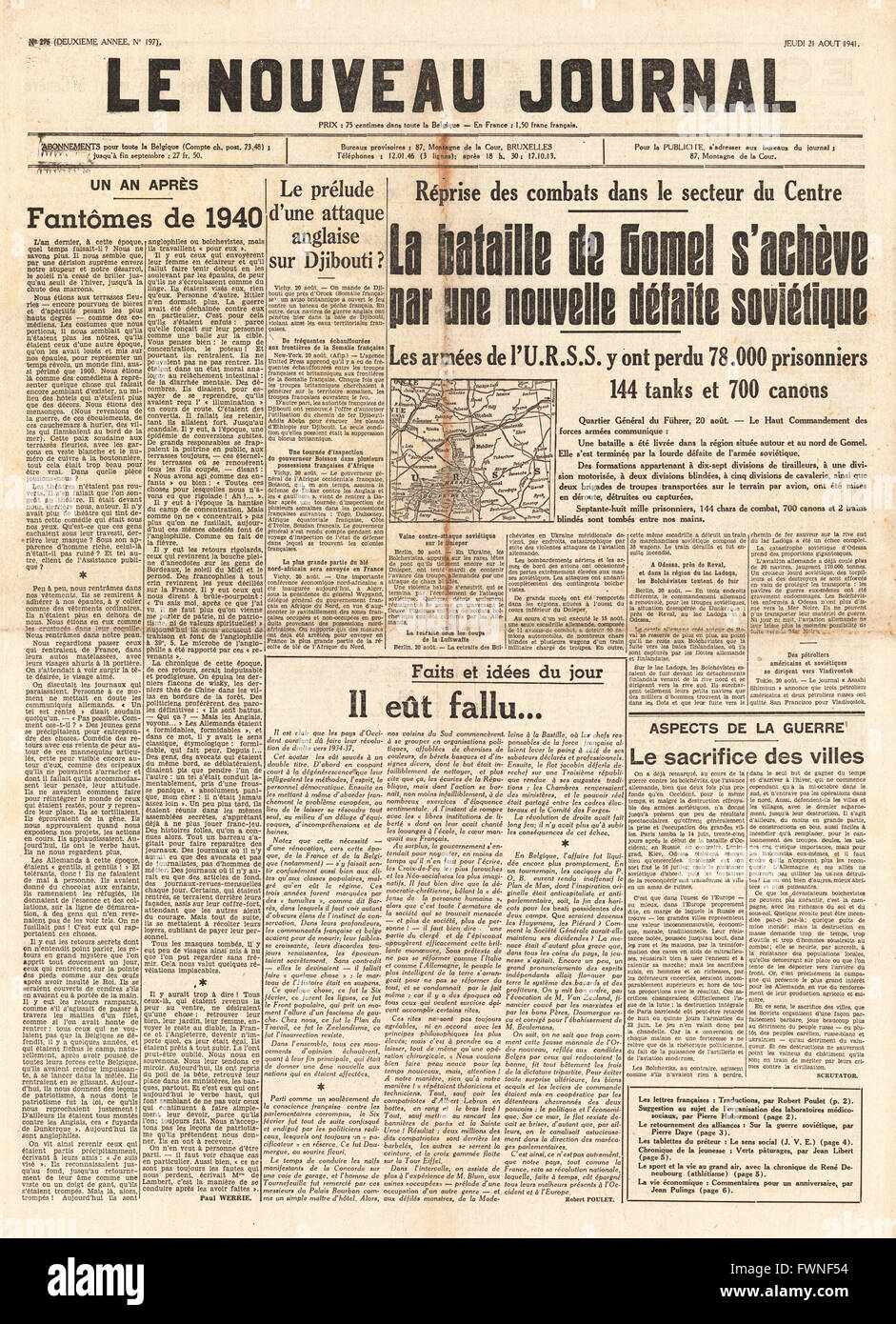 1941 front page  Le Nouveau Journal Russians defeated at Gomel Stock Photo