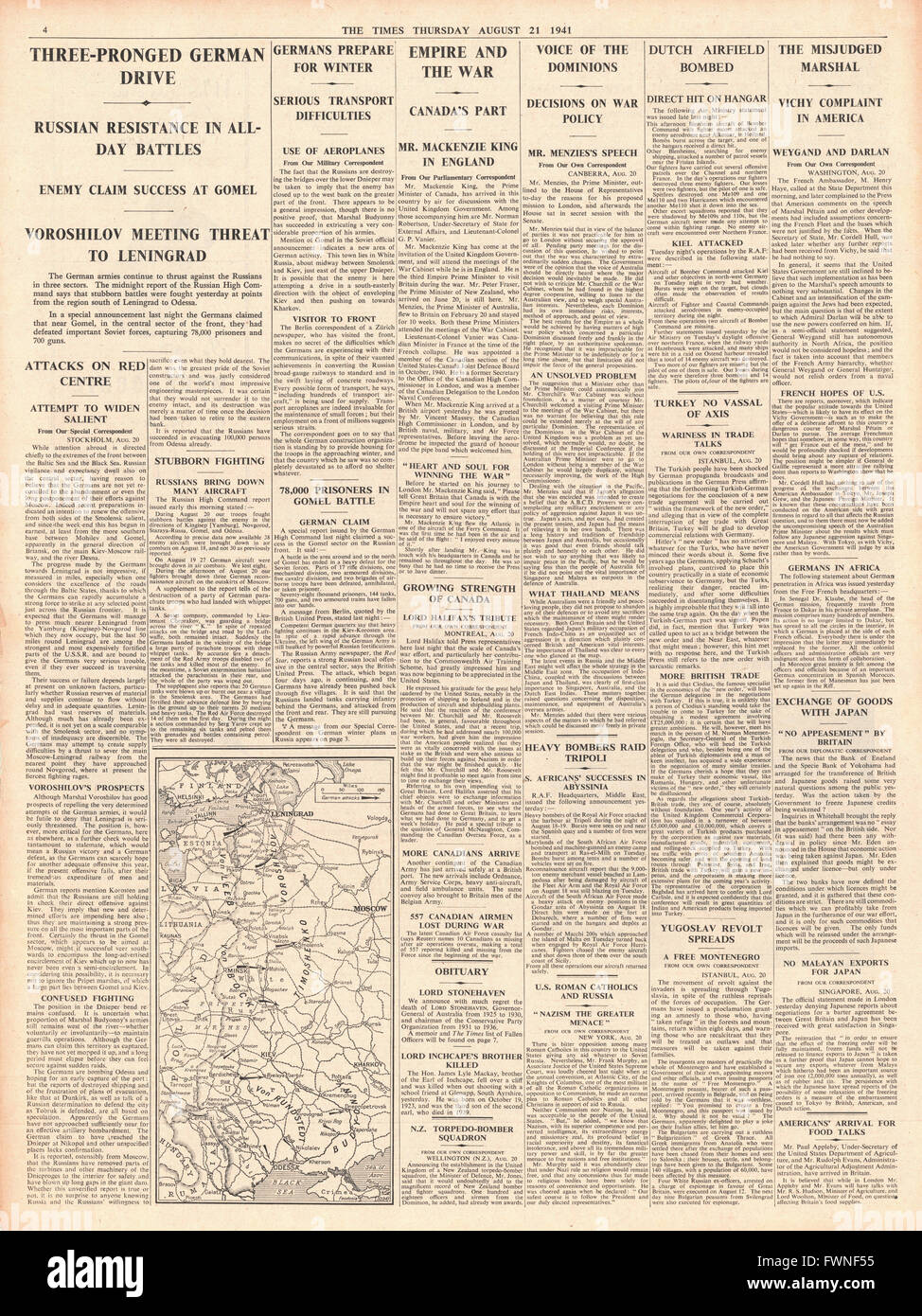 1941 page 4 The Times German Army advances on Eastern Front and Canadian Prime Minister Mackenzie King in England Stock Photo