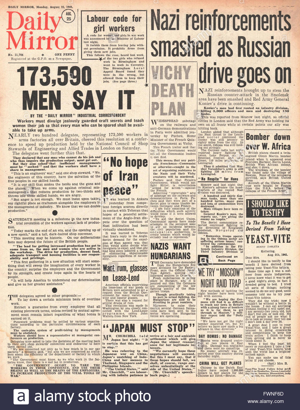 1941 front page  Daily Mirror Union Call for Men to teach Women in Industry and Battle for Smolensk Stock Photo