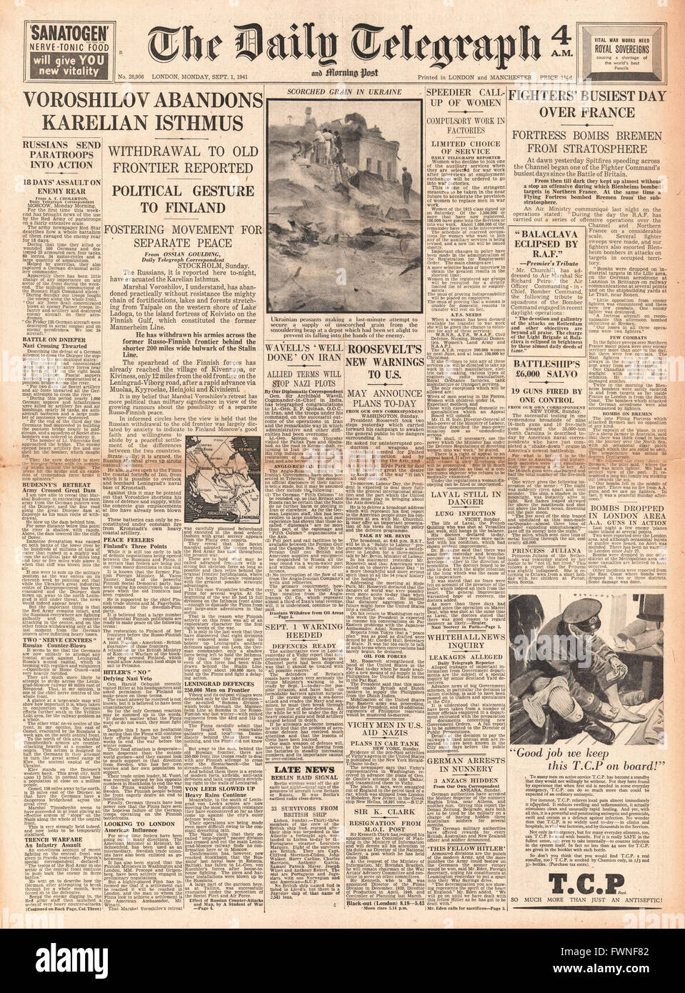 1941 front page  Daily Telegraph Russian Army abandon Karelian Isthmus and Raf Bomb France Stock Photo