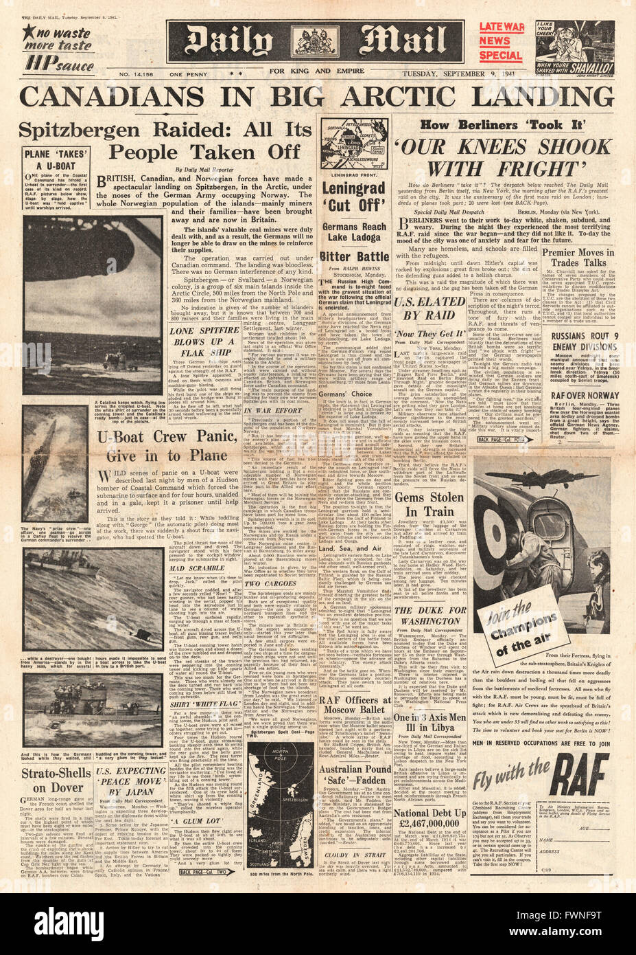 1941 front page  Daily Mail Allied Forces occupy Spitzbergen Stock Photo