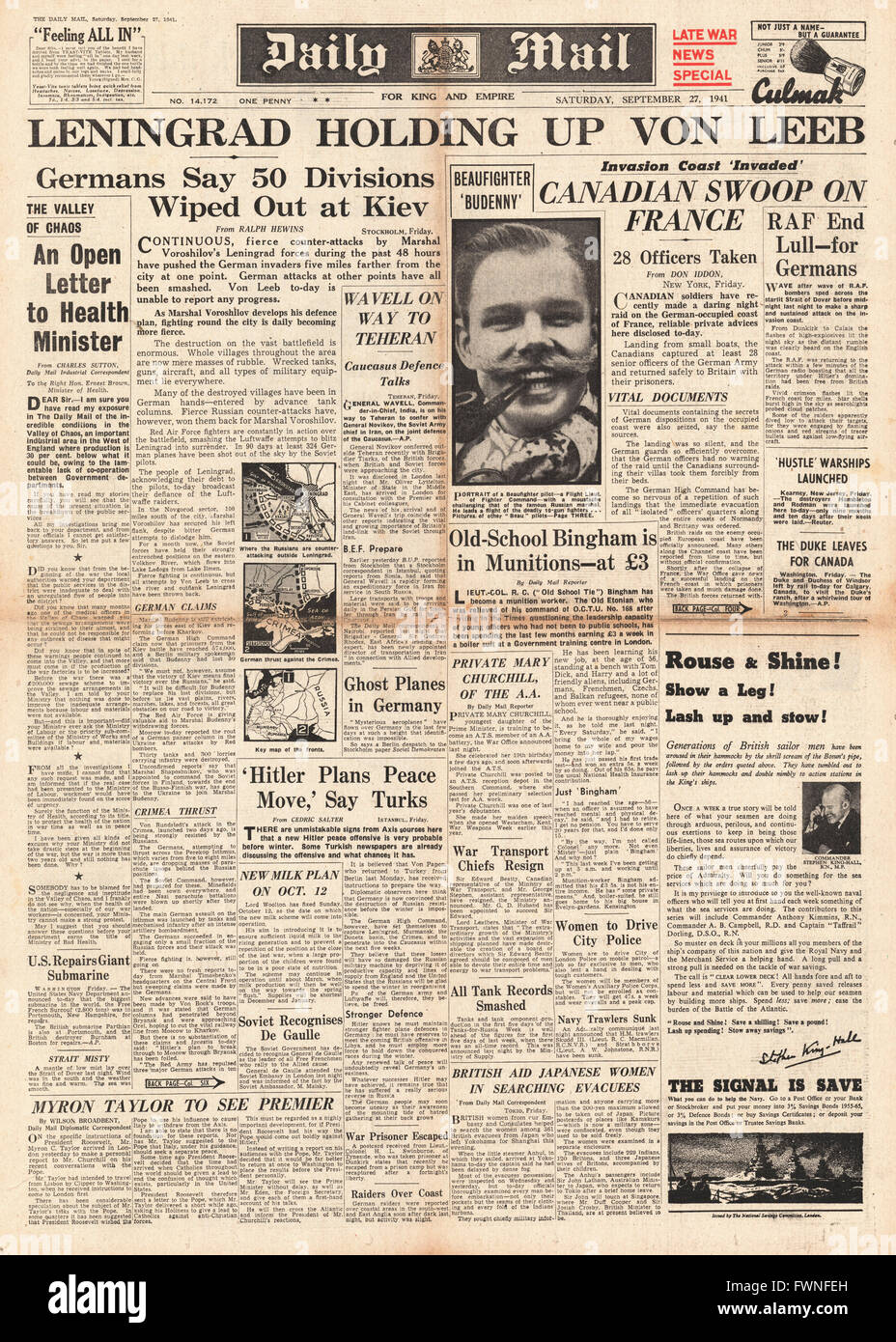 1941 front page Daily Mail Siege of Leningrad Stock Photo