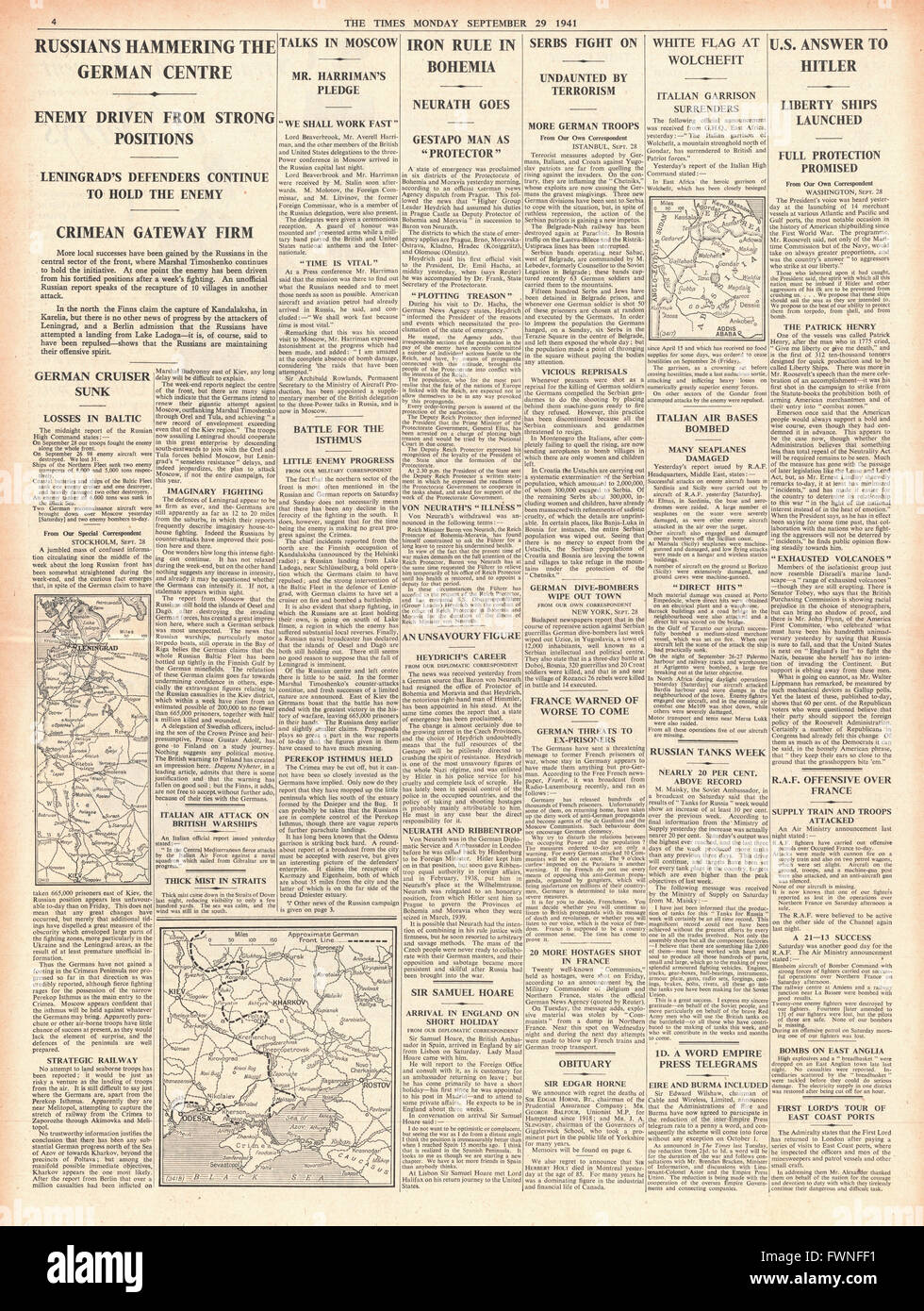 1941 page 4 The Times Fierce fighting in Russia and State of Emergency in Czechoslovakia Stock Photo