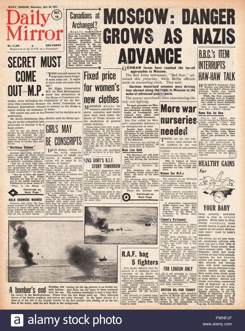1941 front page Daily Mirror Battle for Moscow Stock Photo