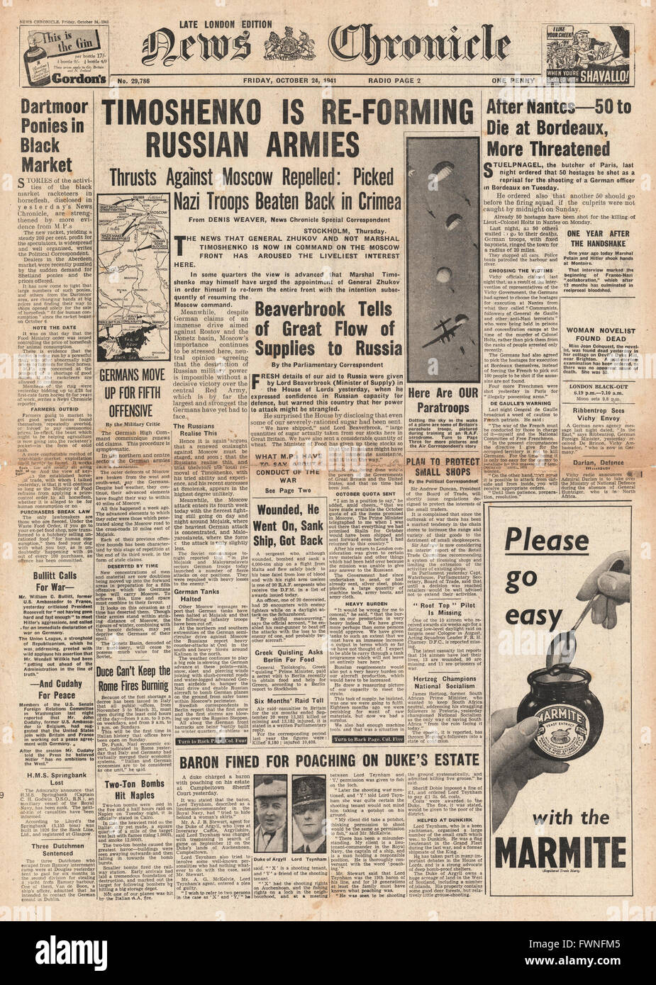 1941 front page  News Chronicle Russian Army counter attacks in Crimea and Moscow, executions in Bordeaux and Lord Stock Photo