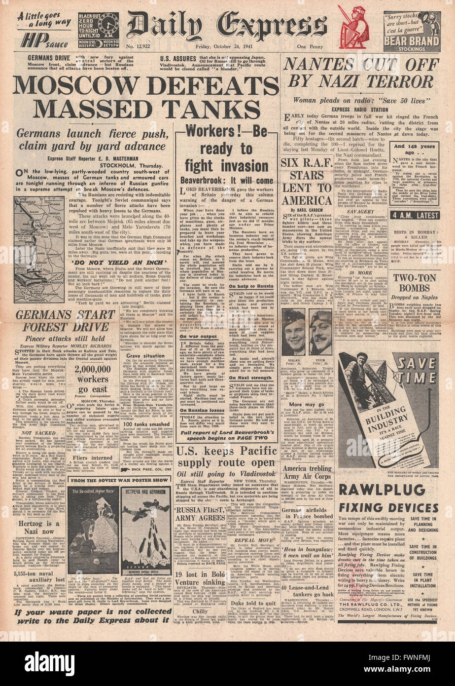 1941 front page Daily Express German Tanks attack Moscow and German reprisals in Nantes Stock Photo