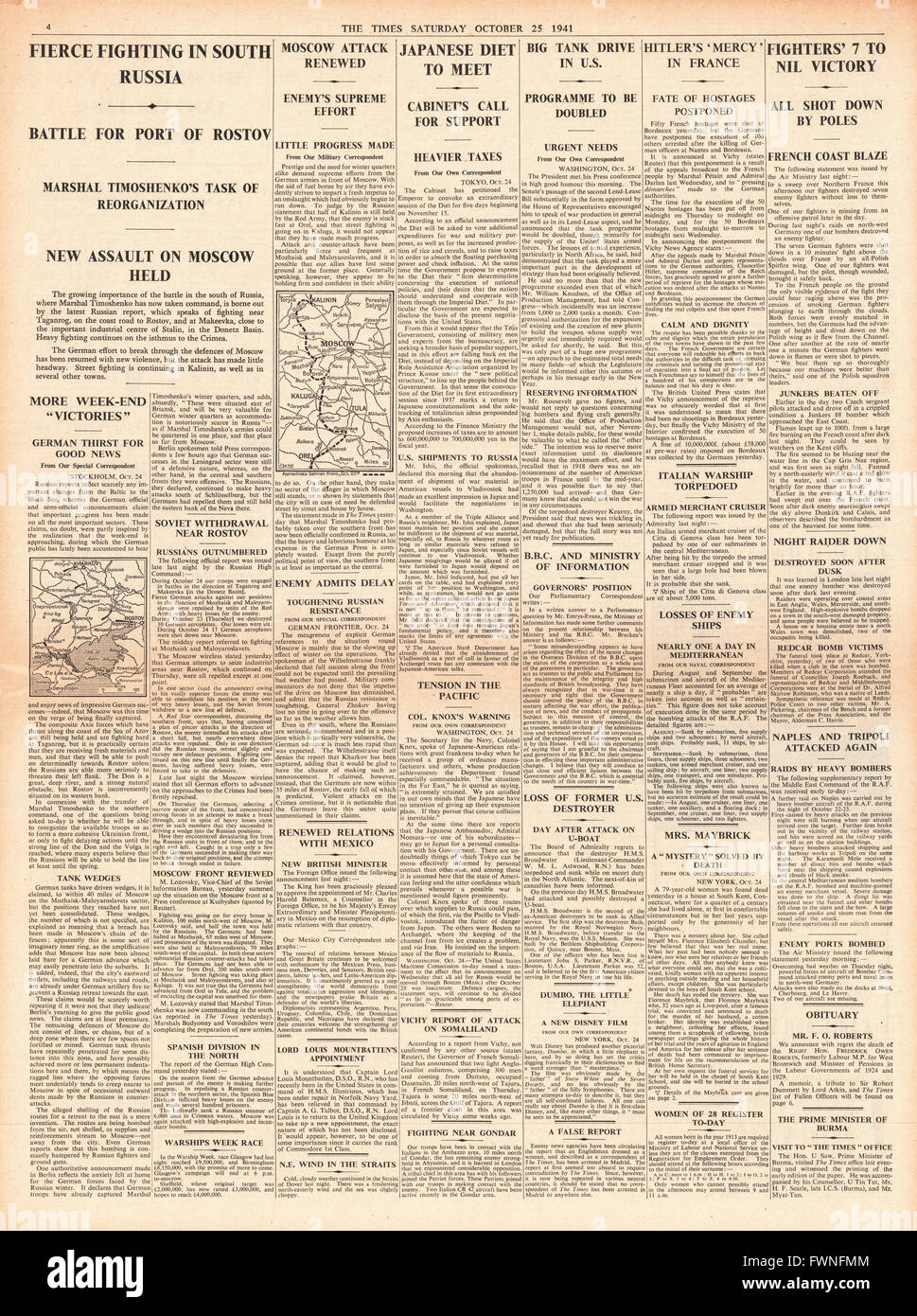 1941 page 4 The Times Fierce fighting in Russia Stock Photo