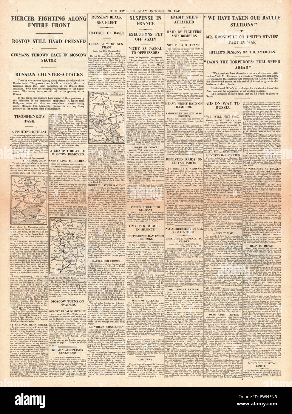 1941 page 4 The Times Fierce Fighting along Eastern Front and Roosevelt readies the United States for War saying Stock Photo