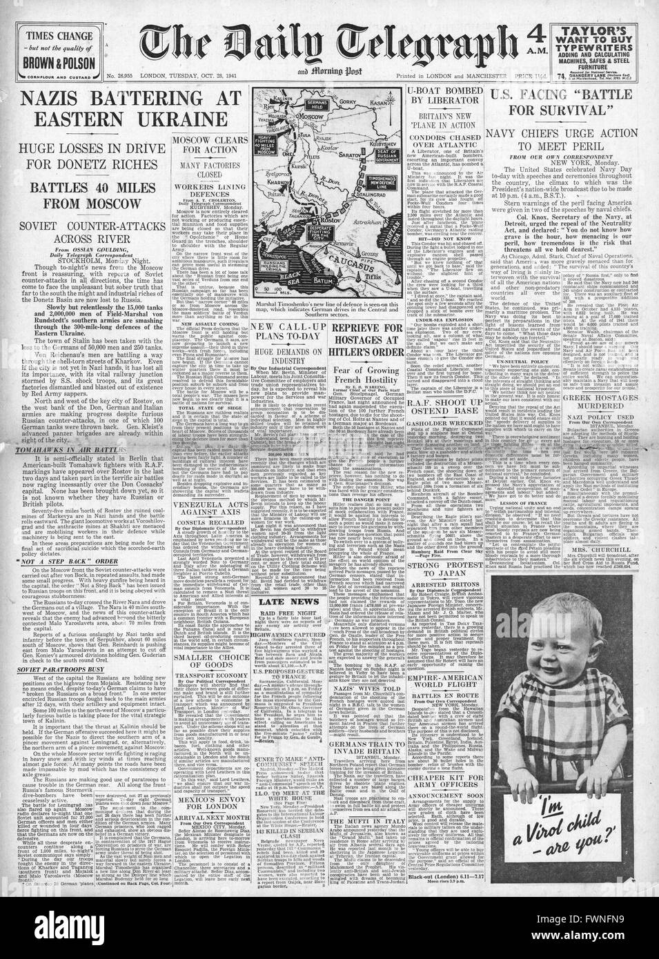 1941 front page  Daily Telegraph German Army attacks in Eastern Ukraine, Battle for Moscow and U.S. Navy secretary Stock Photo