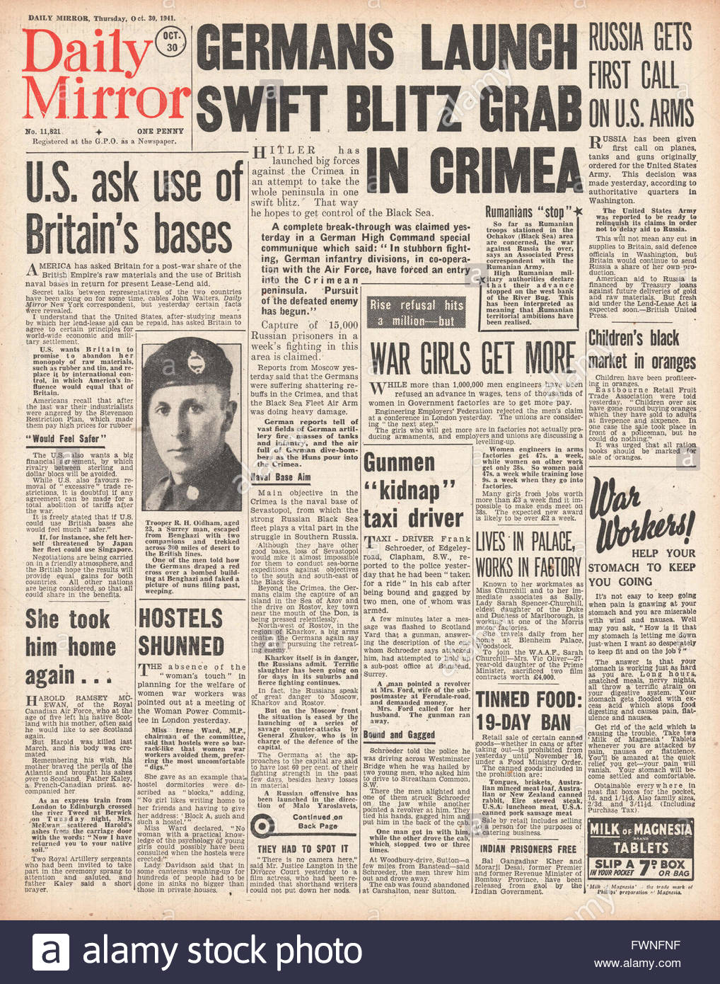 1941 front page Daily Mirror Battle for the Crimea Stock Photo