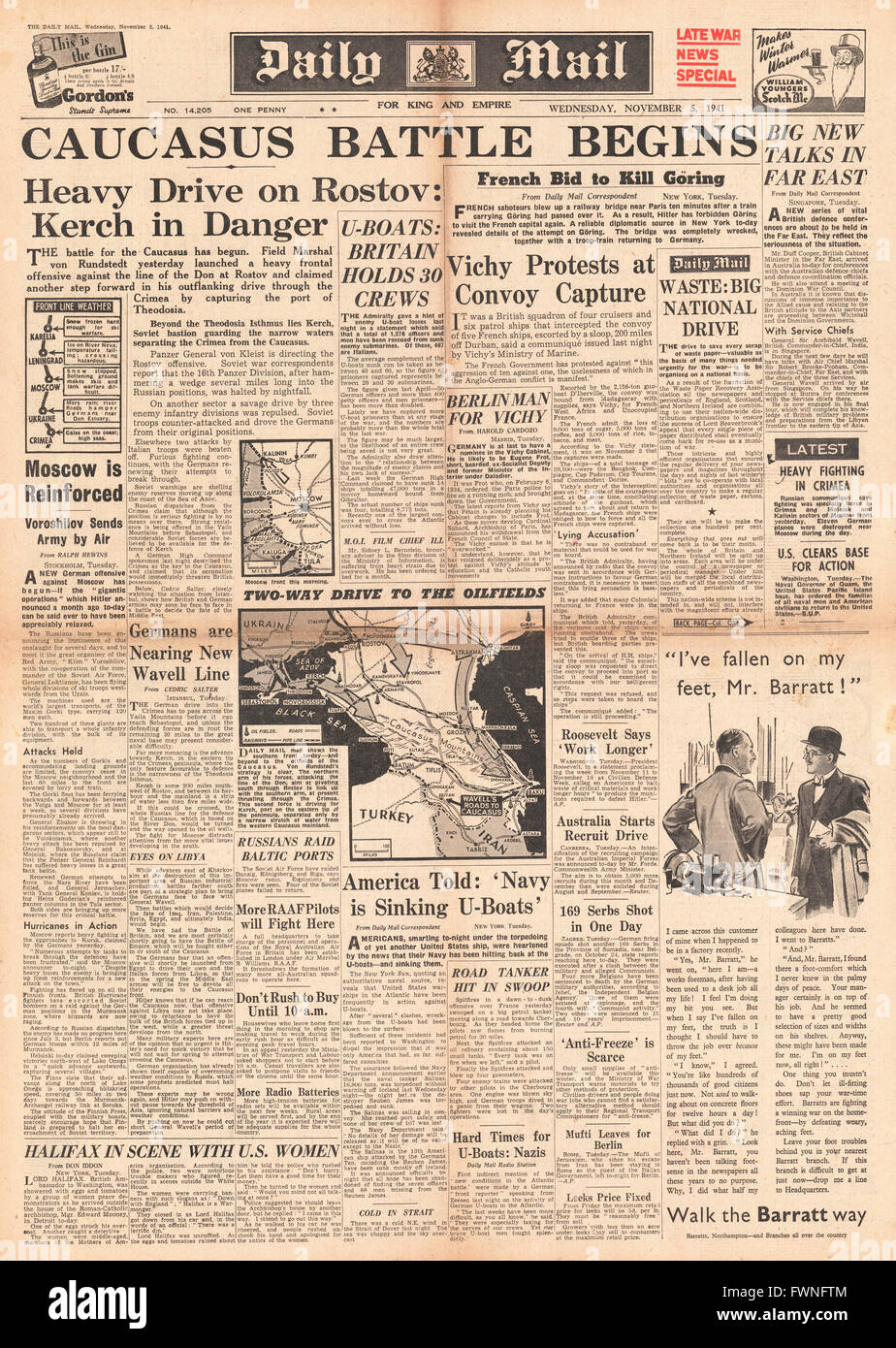 1941 front page Daily Mail Battle for the Caucasus Stock Photo