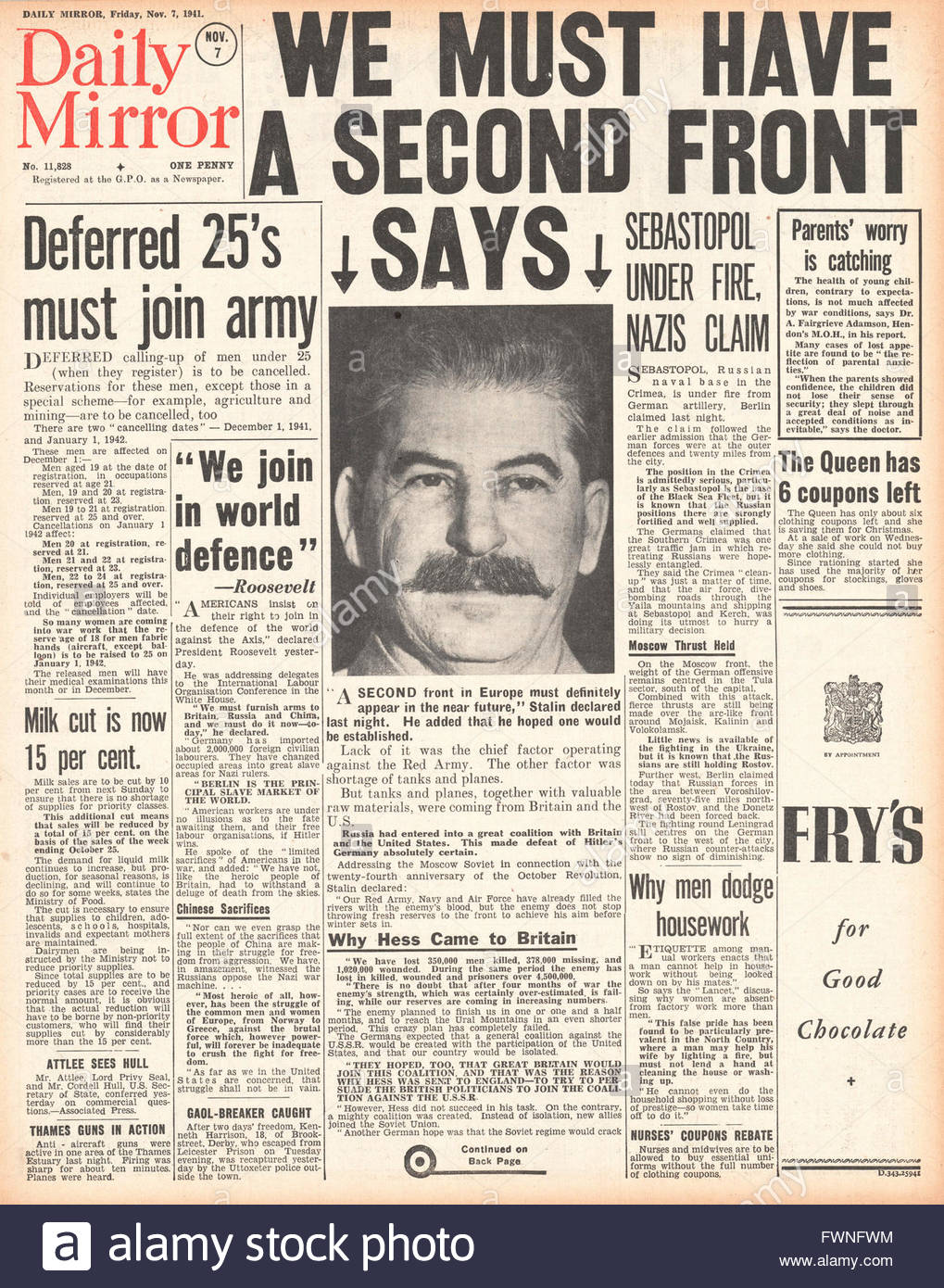 1941 front page Daily Mirror Stalin calls for 'Second Front' in Europe Stock Photo