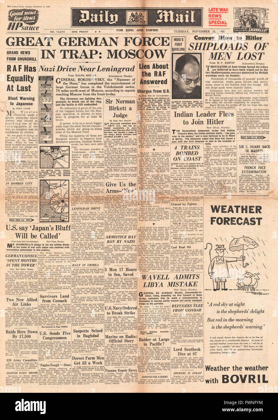 1941 front page Daily Mail Battle for Moscow and Leningrad Stock Photo