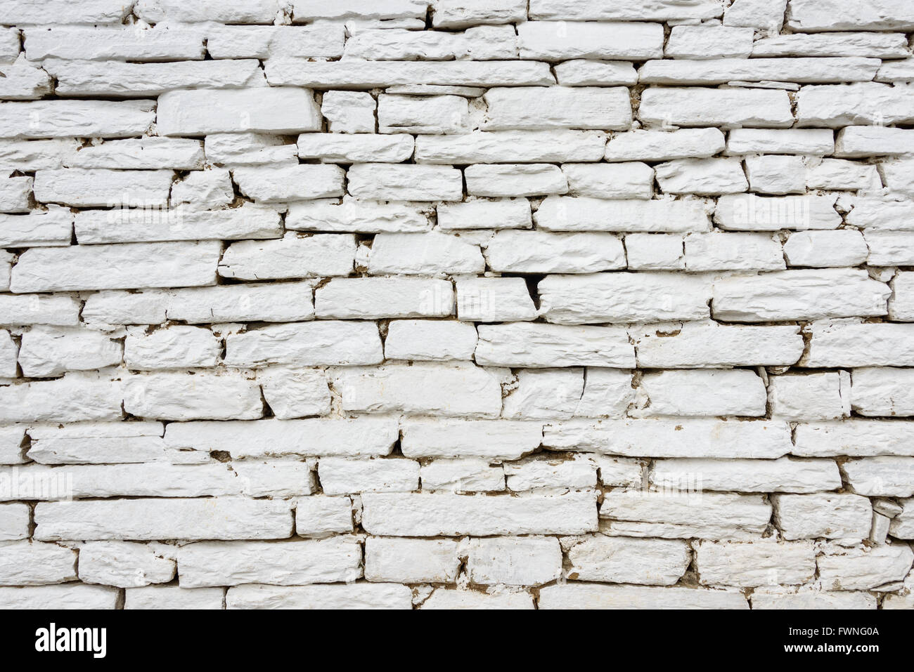 White stone wall texture or background - Stock Image
