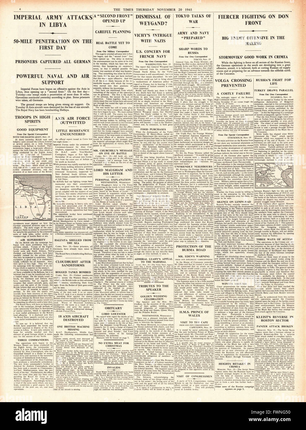 1941 page 4 The Times British forces advance in Libya, General Weygand Sacked and fierce fighting at Rostov Stock Photo