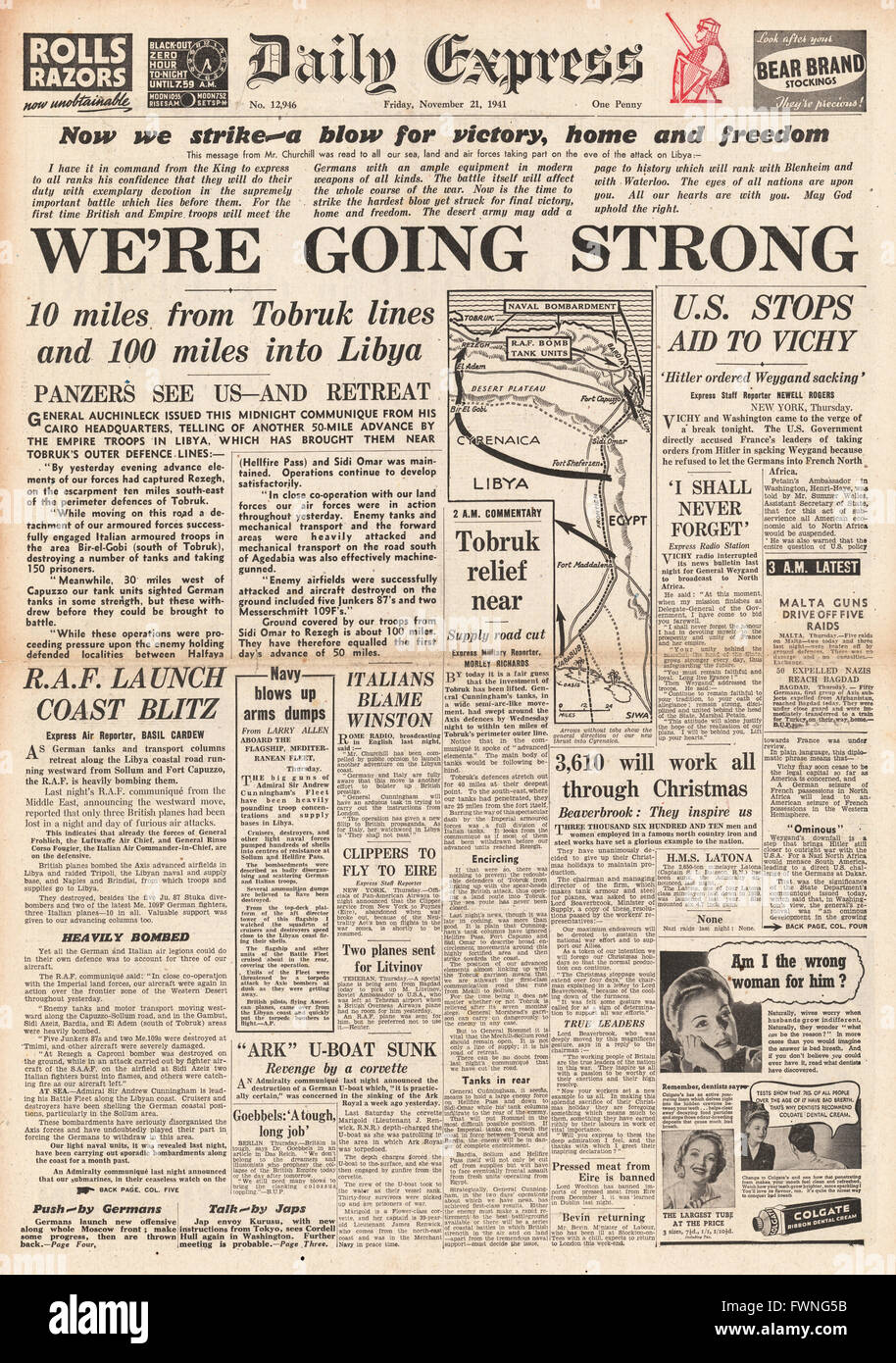 1941 front page Daily Express British Forces advance in Libya - Stock Image