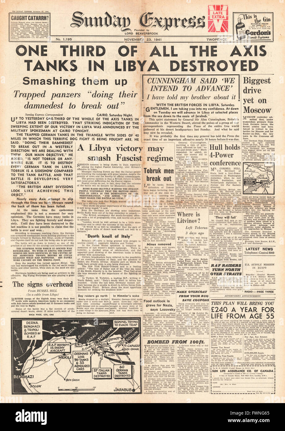 1941 front page Sunday Express Battle for Libya - Stock Image