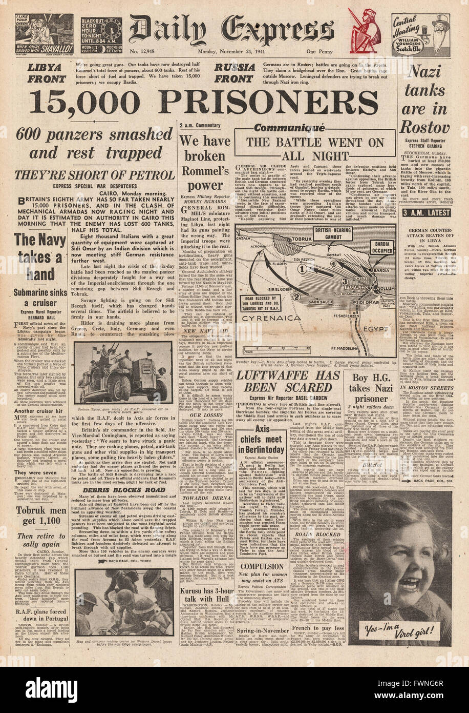 1941 front page Daily Express Battle for Libya and Battle for Rostov - Stock Image