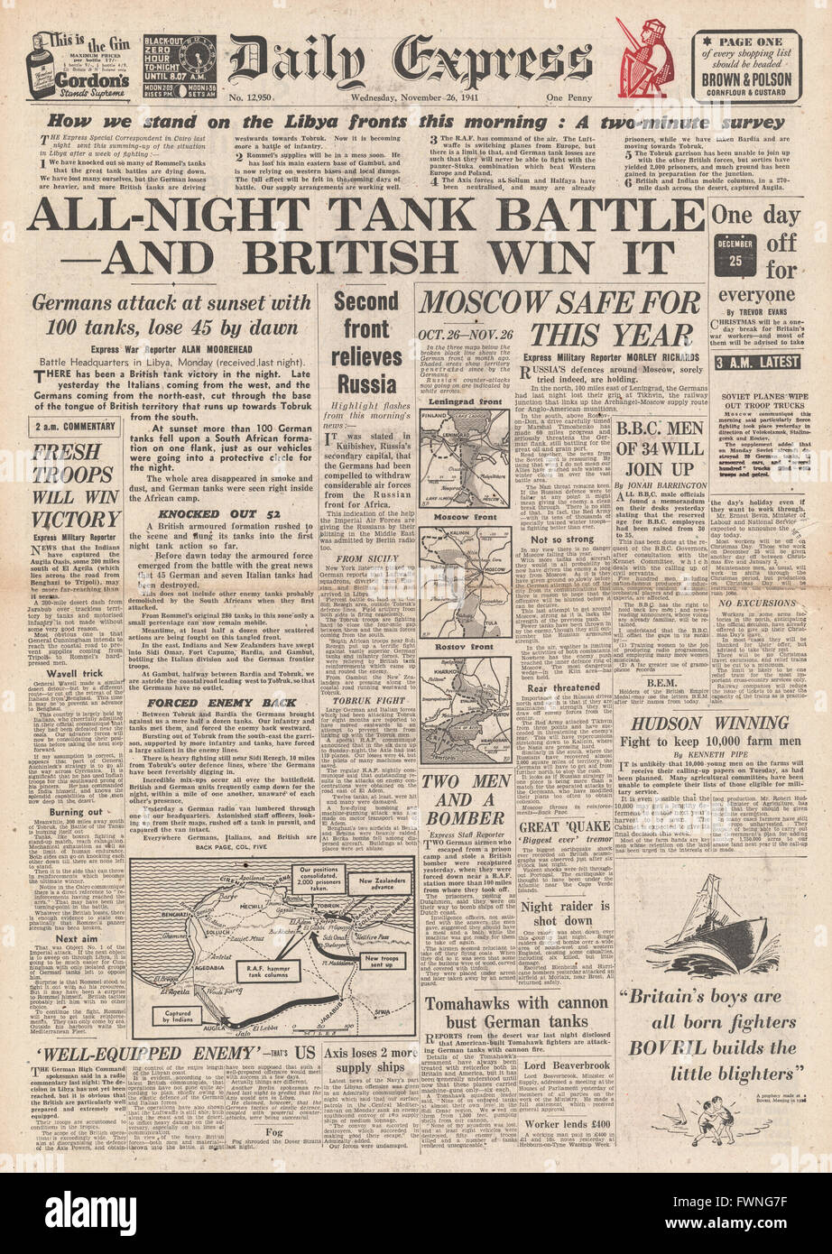1941 front page Daily Express Battle for Libya and Battle for Moscow - Stock Image