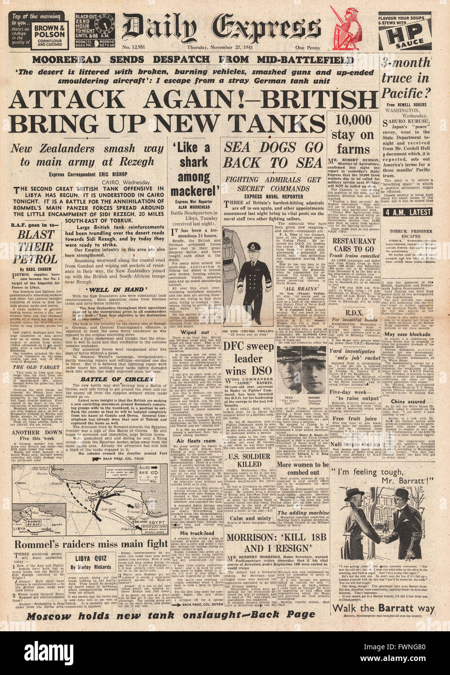 1941 front page Daily Express Battle for Libya - Stock Image