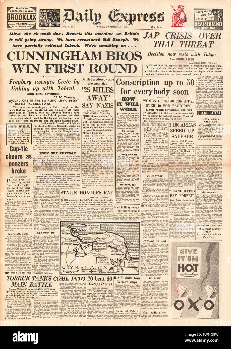 1941 front page Daily Express Battle for Libya, Japanese threat to Thailand and conscription up to the age of 50 - Stock Image