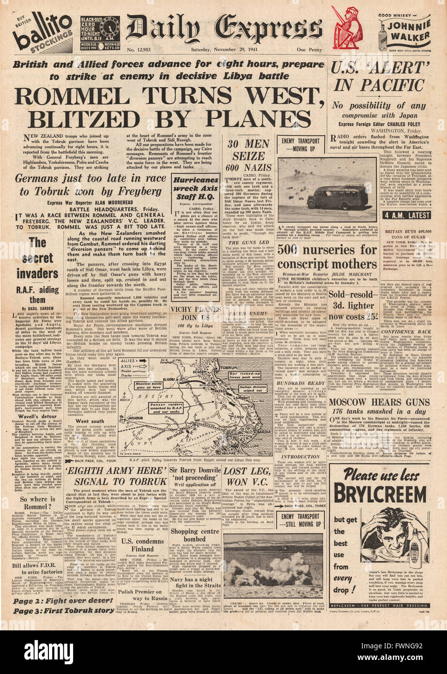 1941 front page Daily Express Battle for Libya and U.S. alert in Pacific - Stock Image