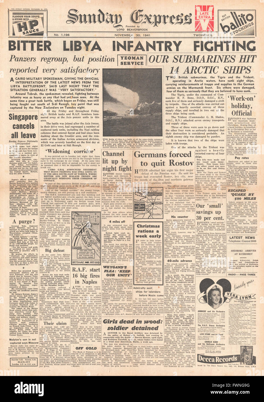1941 front page Sunday Express Battle for Libya and Royal Navy Submarines protect Arctic convoys - Stock Image