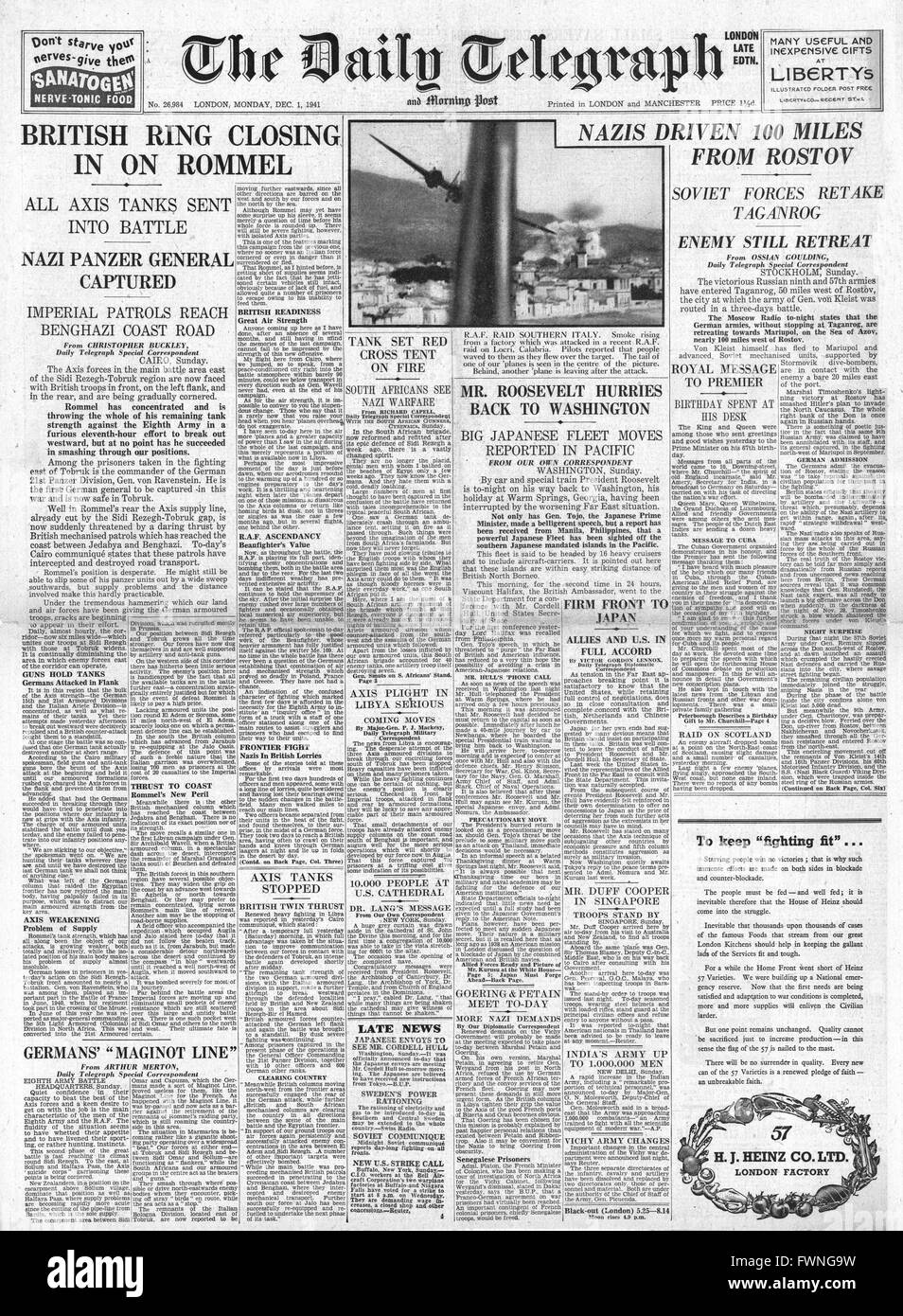 1941 front page Daily Telegraph Japanese Naval Manoeuvres in Far East cause Roosevelt concern, Battle for Libya Stock Photo