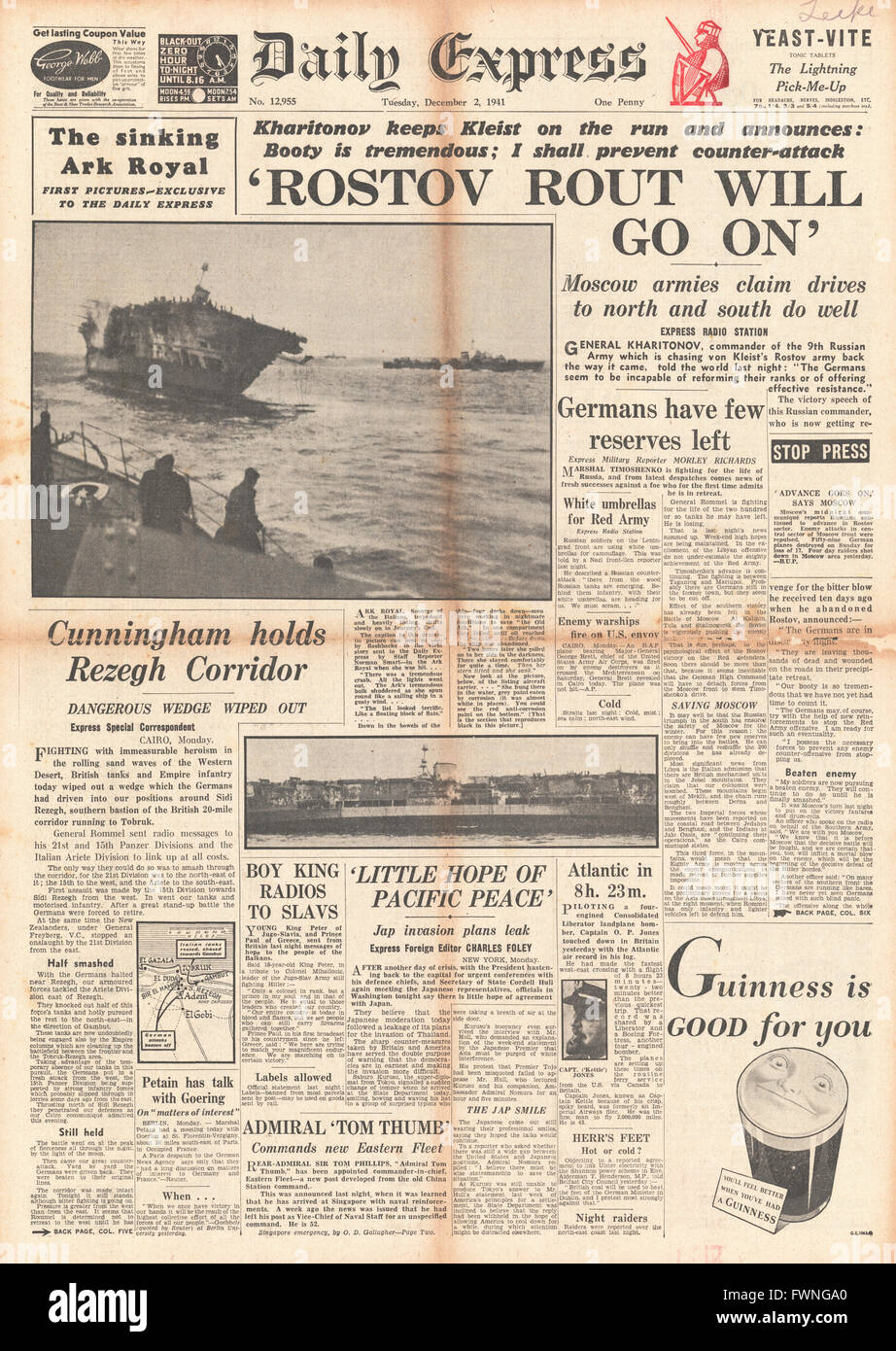 1941 front page Daily Express Battle for Rostov and sinking of HMS Ark Royal - Stock Image