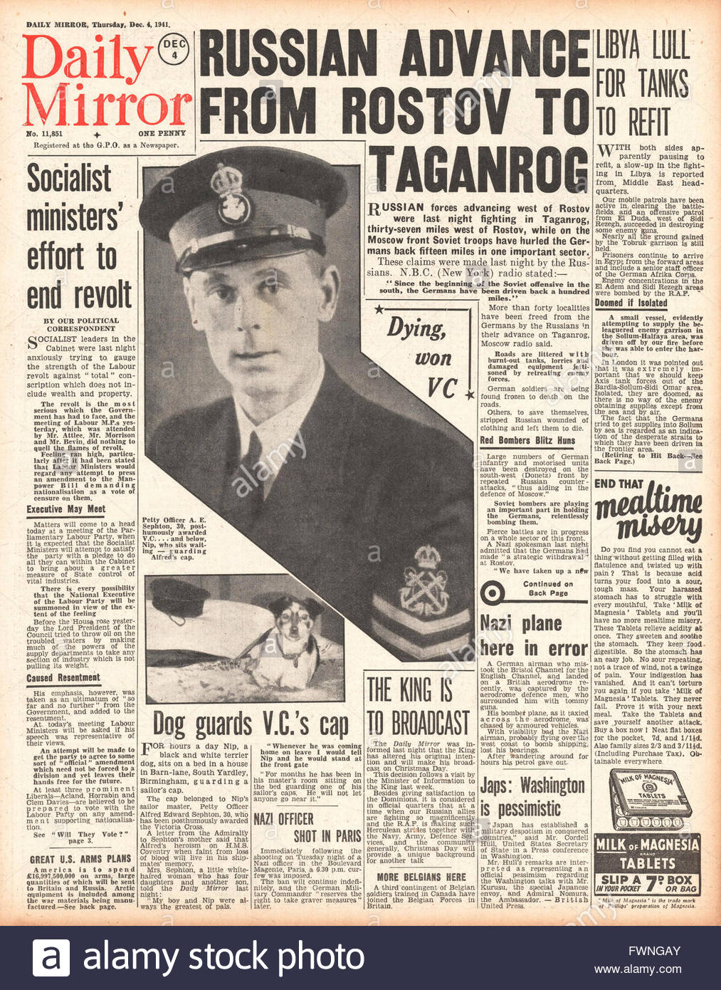 1941 front page Daily Mirror Russian Army advance on Eastern Front and Alfred Sephton posthumously awarded the Victoria Stock Photo
