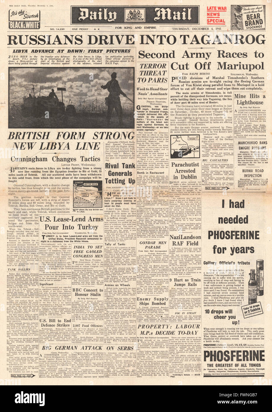 1941 front page Daily Mail Battle for Libya and Mariupol Stock Photo