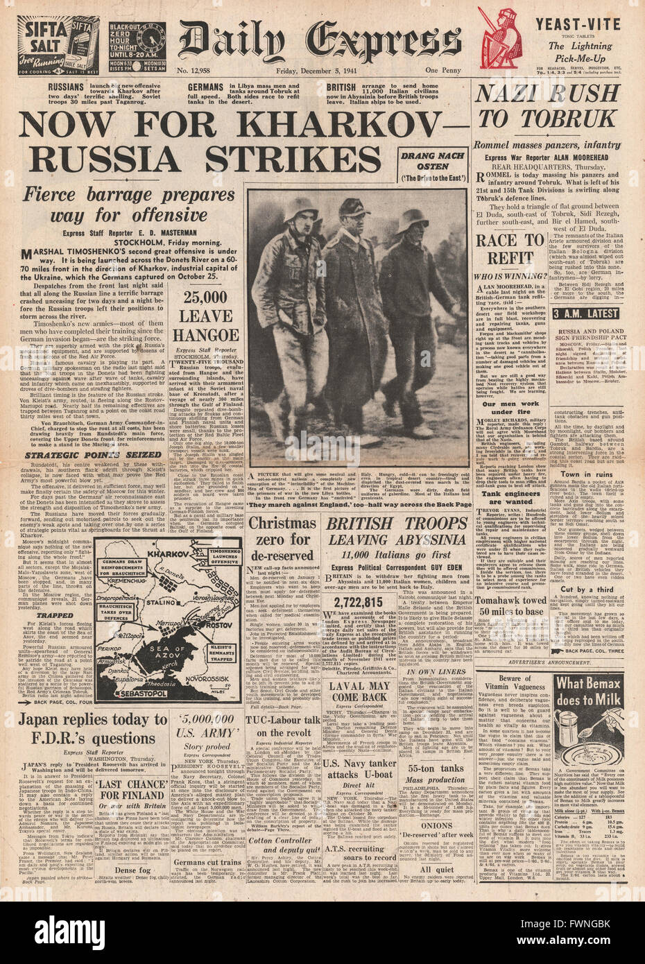 1941 front page Daily Express Russian Army drive for Kharkov and Battle for Tobruk - Stock Image