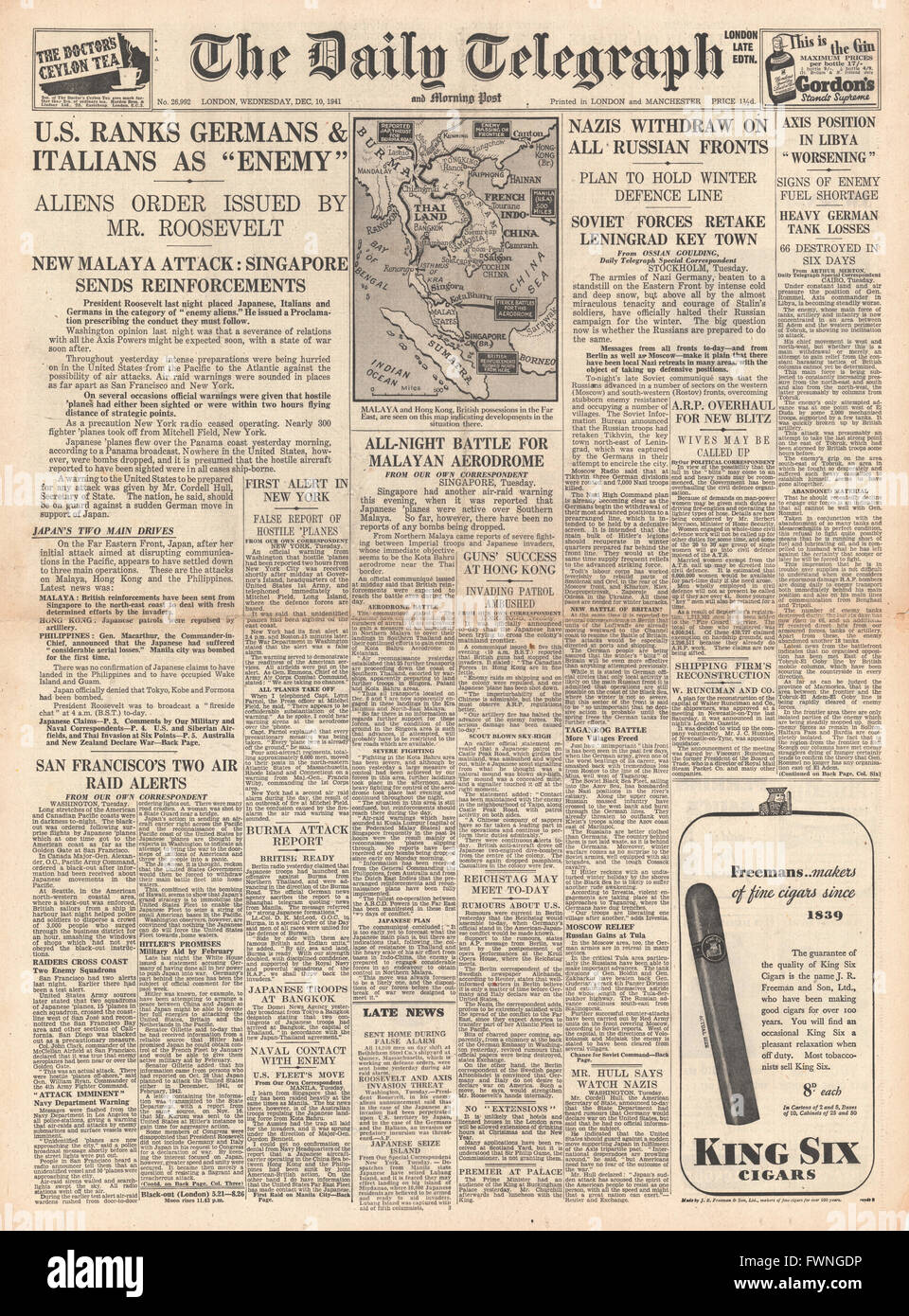 1941 front page Daily Telegraph Roosevelt Issues 'Enemy Aliens' Order against Germans, Italians and Japanese - Stock Image