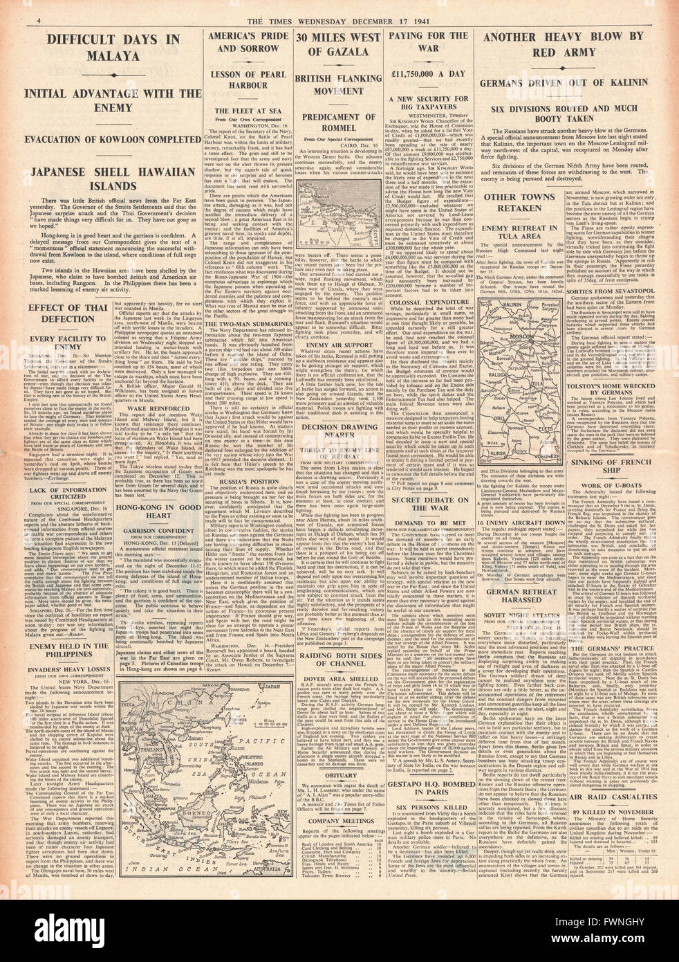 1941 page 4 The Times Battle for Malaya and Hong Kong, Russian Army recapture Kalinin and Battle for Libya - Stock Image