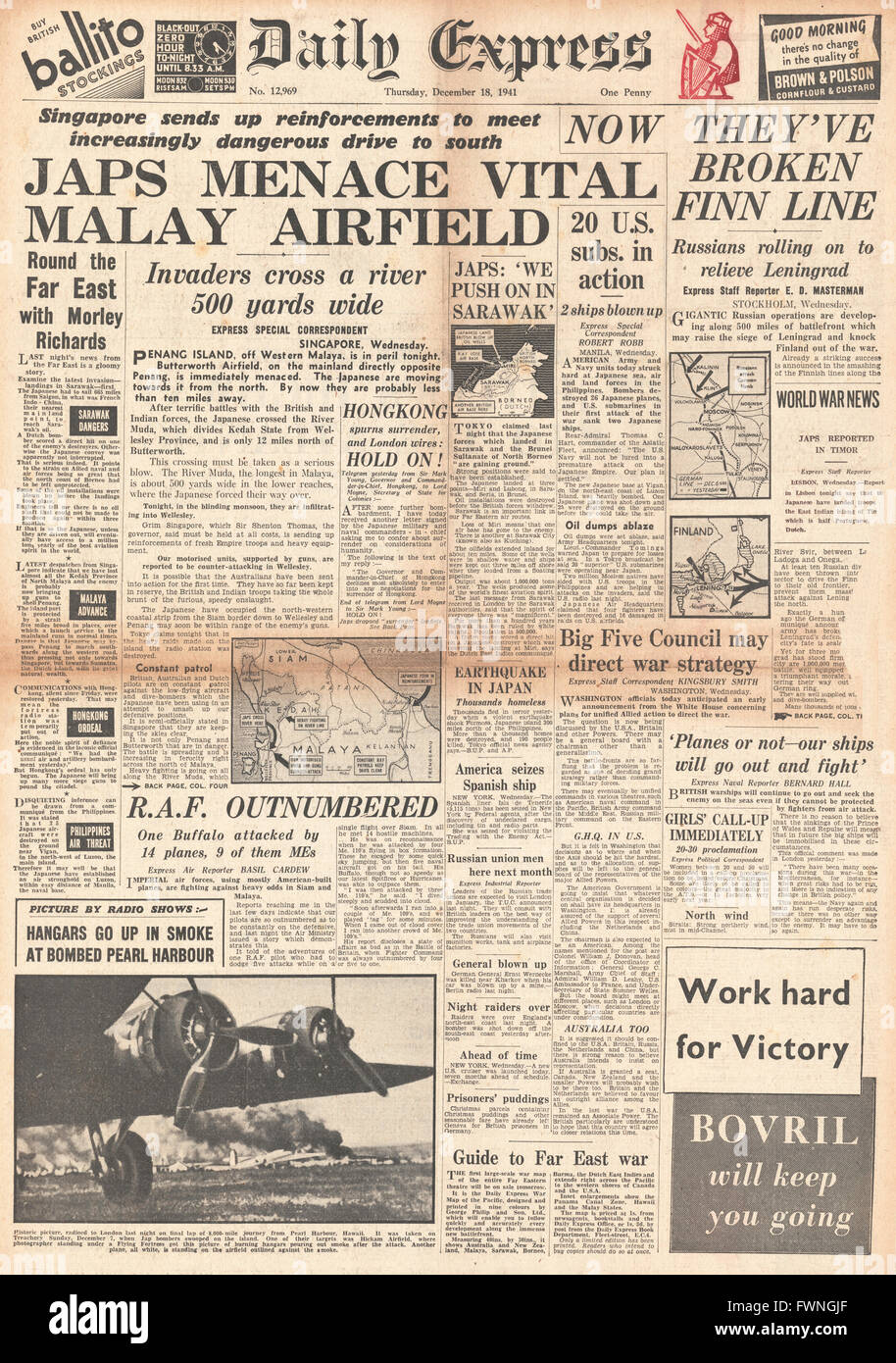 1941 front page Daily Express Battle for Malaya and Penang - Stock Image